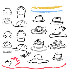 Summer hats caps outlined template set vector