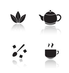 Tea accessories drop shadow icons set vector