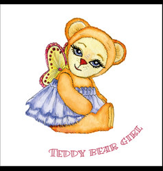 teddy bear girl watercolor vector image