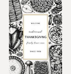 Thanksgiving day dinner menu design with roasted vector