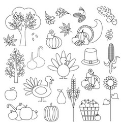 Thanksgiving digital stamps vector