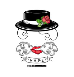 Vape shop logo design with stylized smoking woman vector