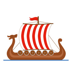 viking ship drakkar logo colored isolated on vector image
