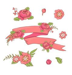 vintage floral ribbon hand drawn doodle banner vector image