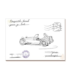 Vintage letter with old car2 vector