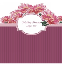 Vintage Watercolor Spring peonies flower card vector