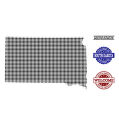 Welcome collage of halftone map of south dakota vector