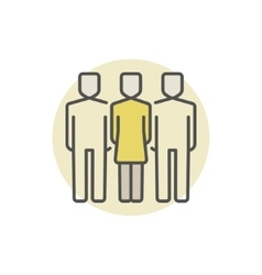 Woman with two men colored icon vector