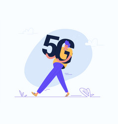 Young man carrying heavy 5g symbol vector