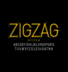 Zigzag stitch style font design embroidery vector