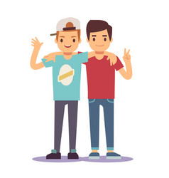adult guys men two best friends friendship vector image