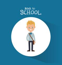 back to school student boy blond bag blue vector image vector image