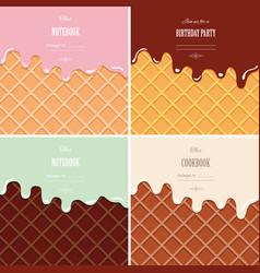 cream melted on wafer background set ice cream vector image