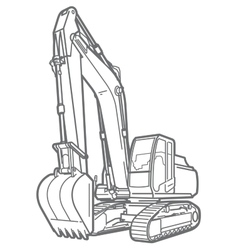 Outline excavator isolated vector image