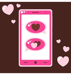 Pink mobile phone with love messages vector image vector image