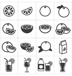 set of orange icon vector image vector image