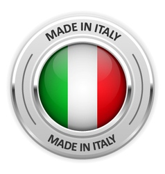 Silver medal Made in Italy with flag vector image