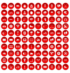 100 cycling icons set red vector