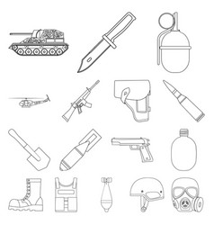 army and armament outline icons in set collection vector image