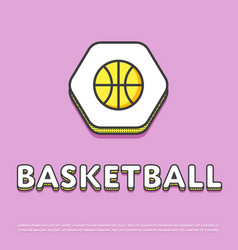 basketball sport colour icon with ball vector image