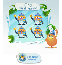 find the difference penguin vector image
