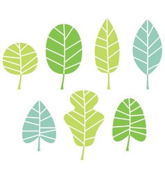 Green tree leaves collection isolated on white vector image