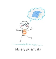 library scientists think about the book vector image