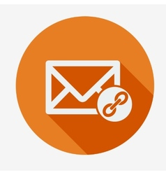 Mail icon envelope with chain Flat design vector image vector image