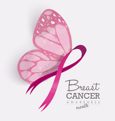 Pink ribbon with butterfly wings for breast cancer vector image vector image