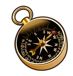 Ancient compass in cartoon style vector