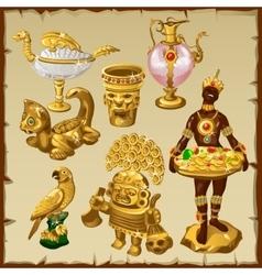 Ancient Oriental and Asian golden sculptures vector image vector image