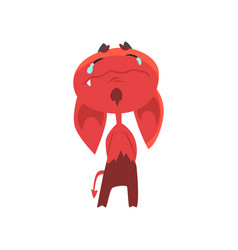 crying cartoon devil with big drooping ears horns vector image vector image