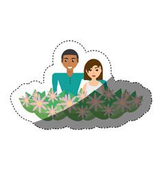 Happy couple with decorative flowers romantic vector
