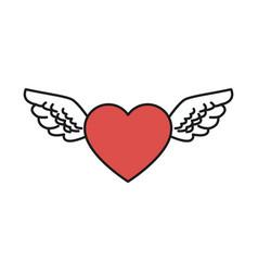 heart wings love romantic design vector image vector image