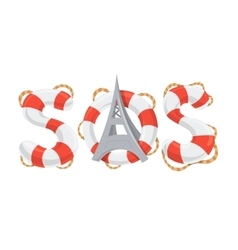 SOS word lifebuoy style vector image