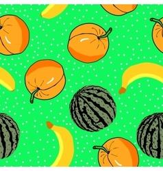 watermelon apricots and banan pattern vector image vector image