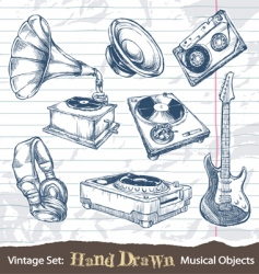Hand drawn musical objects vector
