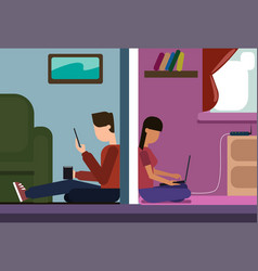man and woman sitting on floor at home chatting vector image vector image