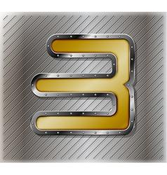 Metallic number three vector image vector image