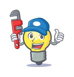 Plumber light bulb character cartoon vector