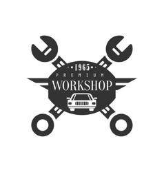 Repair Workshop Black And White Label Design vector image vector image