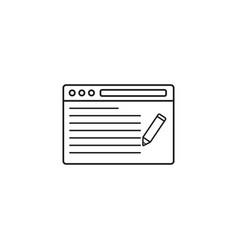 seo copywriting icon browser with pen vector image