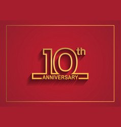 10 anniversary design with simple line style vector