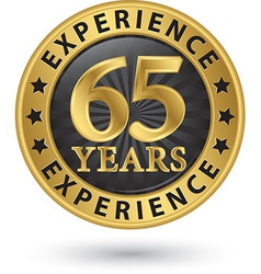 65 years experience gold label vector image