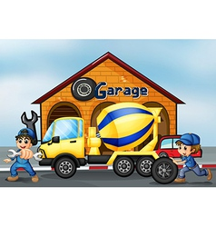 A cement truck in front of the garage vector