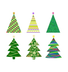 abstract christmas tree set vector image