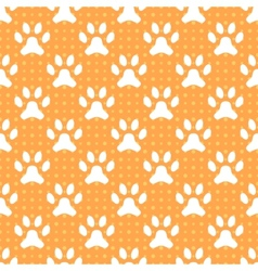 Animal seamless pattern of paw footprint and dot vector