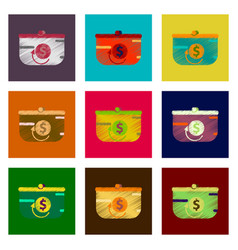 Assembly of flat shading style icon purse discount vector