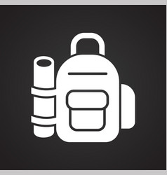 backpack icon on black background for graphic and vector image