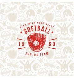 Baseball seamless pattern and emblem of softball vector